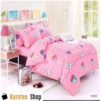 KurstenShop 4in1 Bedsheet POLY COTTON Pink Design(2 pcs pillow case , 1pcs fitted and 1pcs bedsheet)SINGLE