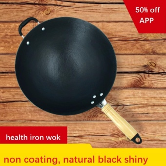 LAKAI CAST IRON WOK 32CM COOKING POT NO COATING NON-STICK IRON PANCOOKING PAN - intl