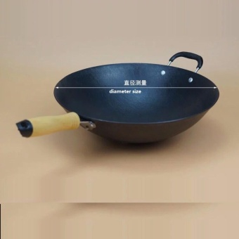 LAKAI CAST IRON WOK 34CM COOKING POT NO COATING NON-STICK ORIGINALIRON PAN COOKING PAN - intl