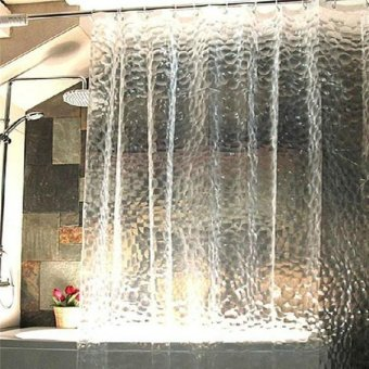 LALANG Bathroom Curtian Thicken 3D Waterproof Water Cube ShowerCurtain White Price Philippines