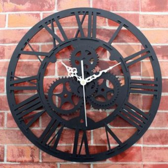 Large Round Metal Color Wall Modern Home Decor Clock Vintage Steampunk Skeleton - intl