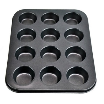 Large size 12 Cups Iron Non-stick Cupcake Baking Tray Pan Cake DIY Tool Baking Bakeware Mould - intl
