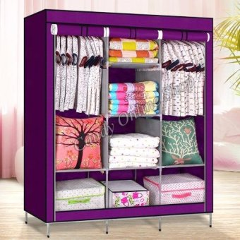 Large Size High Quality Multifunctional Wardrobe Storage Cabinet Dust Cover Waterproof 88130 (Purple)