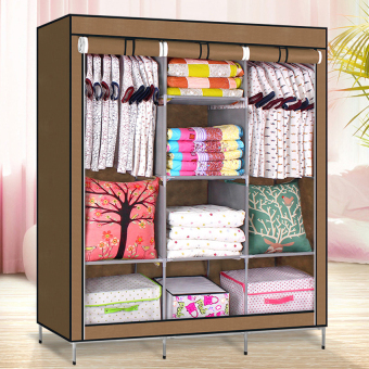 Large Size High Quality Multifunctional Wardrobe Storage Cabinet Dust Cover Waterproof (Brown)