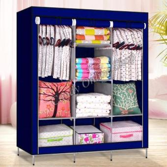 Large Size High Quality Multifunctional Wardrobe Storage CabinetDust Cover Waterproof (Blue)
