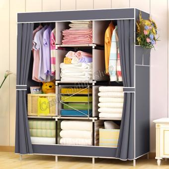 Large Size Quality Fashion Simple Multifunction Cloth Wardrobe Storage Cabinets C-77130 (Grey)