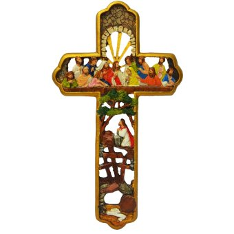 Last Supper Cross Jesus Christ with 12 apostles / Wall decor GOLDReligious Item Ready to Hang (Made of Fiberglass Resin) byEverything About Santa (Christmas decoration and gift suggestion)
