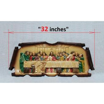 LAST SUPPER PAINTED - Colored Wood Carving ( LARGE - 32 INCHES )