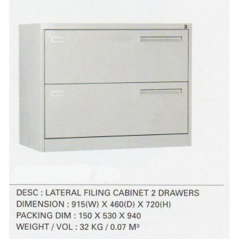 Lateral Filing Cabinet 2 Drawers