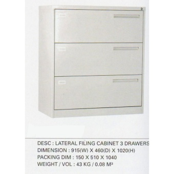 Lateral Filing Cabinet 3 Drawers