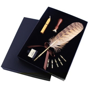Laweisi Antique Nature Feather Dip Pen Set English CalligraphyCarved Pen New Year Gift Creative Gift Birthday Gift Quill PenStationery Gifts(gongjue) - intl