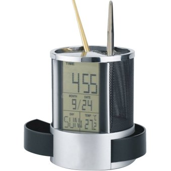 LCD Display Electronic Digital Desk Table Calendar ThermometerAlarm Clock Pen Pencil Holder Black