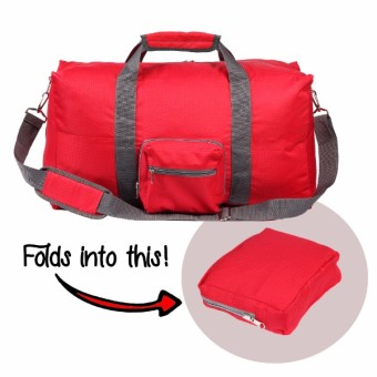 Le Organize Alphra Ripstop Foldable Small Duffle Bag - Red