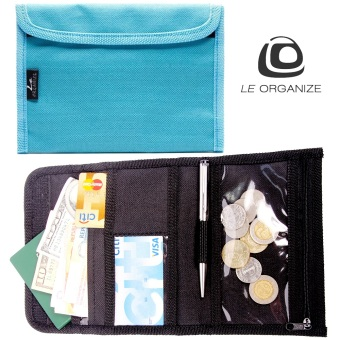 Le Organize Deltrax Canvas Small Passport Organizer - Aqua