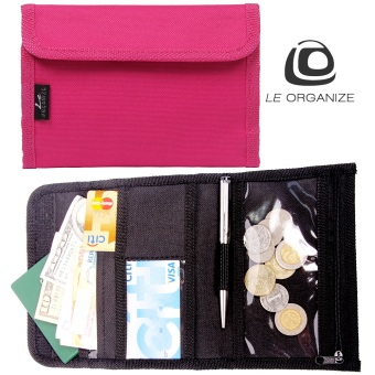 Le Organize Deltrax Canvas Small Passport Organizer - Pink