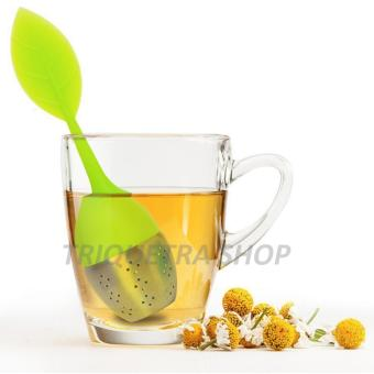Leaf Shape Silicone and Stainless Tea Infuser Strainer Filter forLoose Tea with Drip Tray (Green)