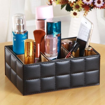 Leather Desk Organiser Case Office Multi-functional Desk Table Stationery Organizer Storage Box Phone Remote Control Holder 19.5x13x8cm - intl