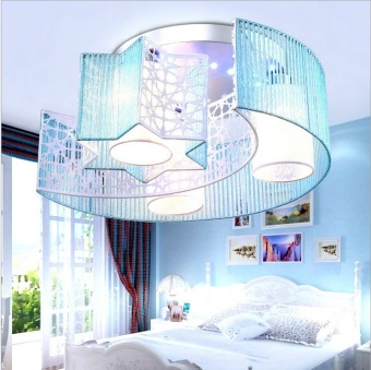 LED Ceiling Light Children Girl's Room Lamp Bedroom Creative RoundChandelier with Remote Control Simple Modern Fashion Warm andRomantic Bedroom Lights 46cm A+ - intl
