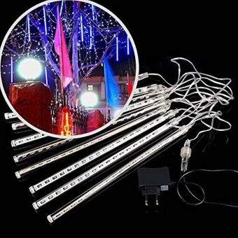 LED Meteor Shower Rain Lights,Drop/Icicle Snow Falling Raindrop 30cm 8 Tubes Cascading lights for Wedding Xmas Home Decor - Cool White - intl