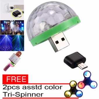 LED Small Magic Ball Disco Party USB Colorful Neon Lights 4W WithFree Assorted 2pcs Spinner