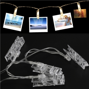LEDMOMO 5m 40 LED Photo Clip String Lights 3000K for Hanging Pictures / Notes / Artwork (Warm White) - intl - 3