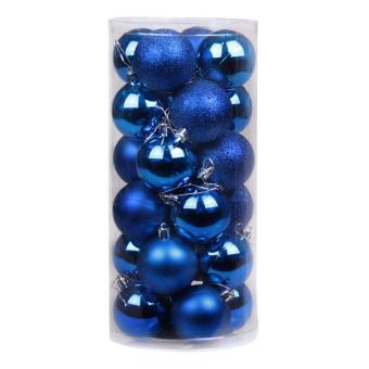 leegoal Christmas Baubles Tree Balls Decorations Ornament Xmas Tree Festival Party Pendant Baubles,24pcs,4cm,Blue - intl