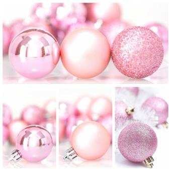 leegoal Christmas Baubles Tree Balls Decorations Ornament Xmas Tree Festival Party Pendant Baubles,24pcs,4cm,Pink - intl
