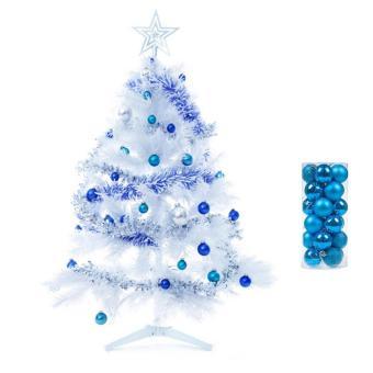 leegoal Christmas Baubles Tree Balls Decorations Ornament Xmas TreeFestival Party Pendant Baubles,24pcs,4cm,Lake Blue - intl - 5