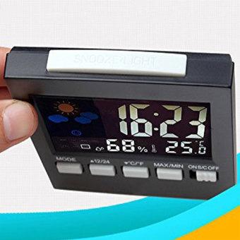 Leegoal LCD Screen Digital Indoor Weather Forecast TemperatureHumidity Monitor Alarm Clock,Black - intl - 3