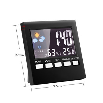Leegoal LCD Screen Digital Indoor Weather Forecast TemperatureHumidity Monitor Alarm Clock,Black - intl - 5