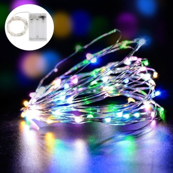 leegoal LED Fairy String Lights Indoor And Outdoor 5m 50 LEDs Copper Wire Light Battery Powered For Christmas Bedroom Garden Party Wedding Decoration Multicolor - intl