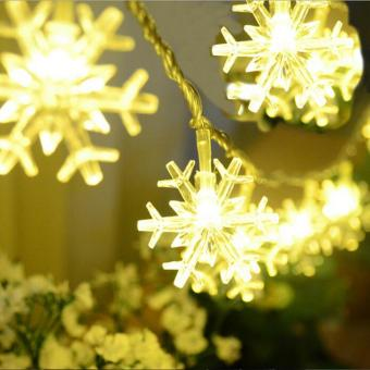 leegoal LED Snowflake Lights Battery Operated 8.2ft 20 LEDS IndoorString Lights For Christmas Tree, Bonsai, Backgrounds, Walkways,Mantels, Bedroom Decoration (Warm White) - intl