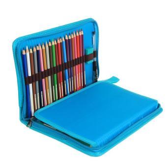 leegoal Pencil Holder Bag Pencil Zippered Wrap Colored PencilsOrganizer Case Roll Multi Foldable Purpose Pouch,72 Slot,Sky Blue -intl - 5
