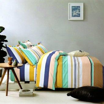 Leisure Striped Vector Theme Flat Bedsheet Duvet Cover Linen Collection Bedding Set with Pillowcase