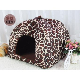 Leopard Print Pet Nest Cat Dog House Bed Kennel Cushion S (Intl) - intl