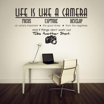 Life Is Like A Camera Quote Wall Stickers Home Decals Home Study Decoration DIY - 5