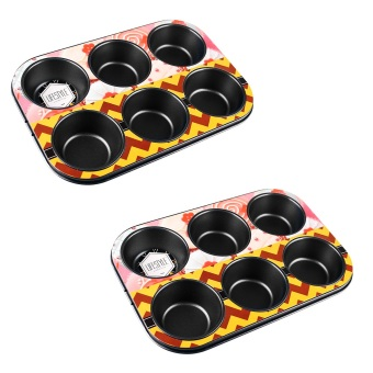Lifestyle Muffin Pan 6 Holes Set of 2 Black (CN9711/6)