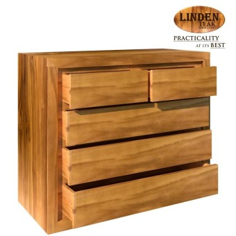 Linden Teak Handcrafted Solid Teak Wood Chest Drawer Big W/o Leg Furniture  (Gold Teak Series Indoor Design) ...