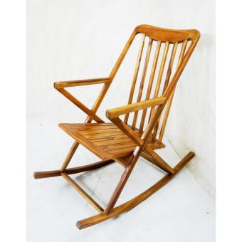 Linden Teak Handcrafted Solid Teak Wood Rocking Chair Furniture (Gold Teak  Series Indoor Design)