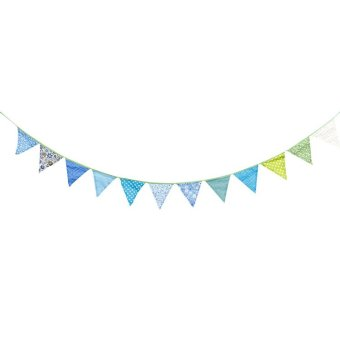 Linemart 12 Colorful Flags Fabric Bunting Pennant Flags Party Decoration Banner Christmas Party Supplies Events Wedding Decoration