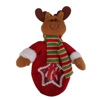 Lint Christmas Cute Bear Reindeer Doll Puppet Gift Bag Tote Xmas Party Favor