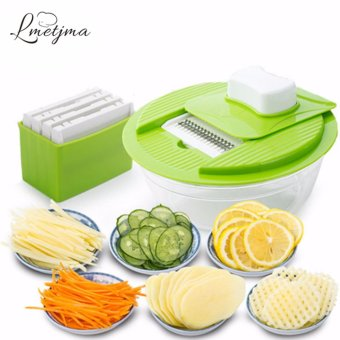 LMETJMA Mandoline Vegetable Slicer Dicer Fruit Cutter Slicer With 4Interchangeable Stainless Steel Blades Potato Slicer Tool - intl