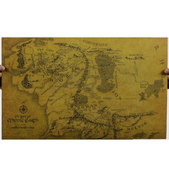 Lord of the Rings middle earth map retro kraft paper posters wallstickers room decor home decal movie fans mural art - intl
