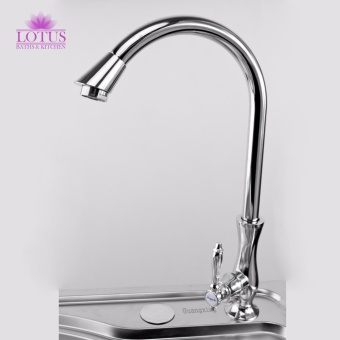 Lotus Classic Stainless Steel Kitchen Sink Goose Neck WaterTap Faucet (Silver)