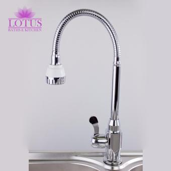 Lotus Stainless Steel Kitchen Sink 2 Stream Mode FlexibleGoose Neck Water Tap Faucet (Silver)