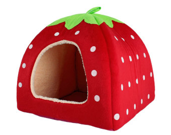 louiwill Cute Soft Sponge White Dots Strawberry Pet Cat Dog House Bed With Warm Plush Pad(Red ,M) (Intl)