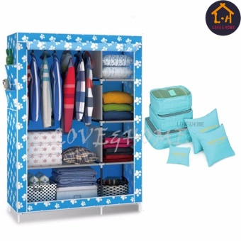 LOVE&HOME 105NT Zipper Fashion Storage Wardrobe (Blue Dog) With 6 in 1 Secret Pouch Travel Organizer Set (Sky Blue)