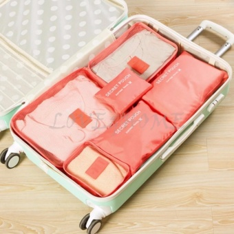 LOVE&HOME 6Pcs Waterproof Travel Storage Bag Clothes PackingCube Luggage Organizer Pouch (PeachPink)