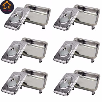 LOVE&HOME Rectangular Stainless Food Warmer Tray With PatternDesign Cover Set Of 6 (Silver)