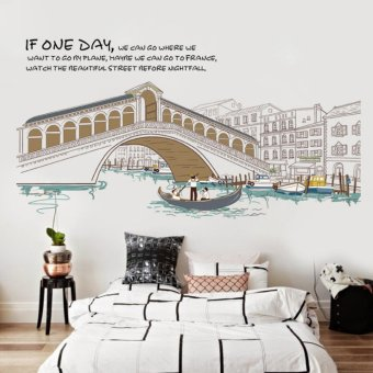 Lovely Clover City Scenery Buildings Bridge Ships River Wall Sticker Decal Home Paper PVC Murals House Wallpaper Bedroom Kids Babys Living Room Art Picture Decoration LCXRNU (Color:As First Picture) - intl